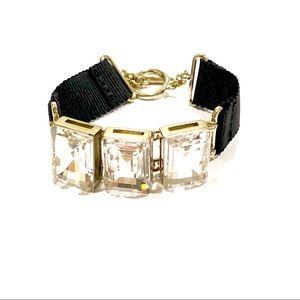 BANANA REPUBLIC triple crystal & Ribbon Bracelet